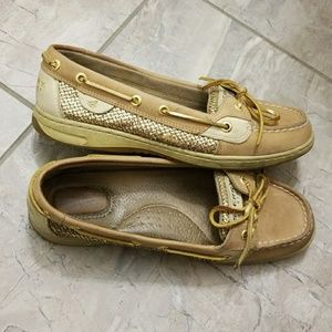 Women's Gold Sparkly Sperry's 8.5W